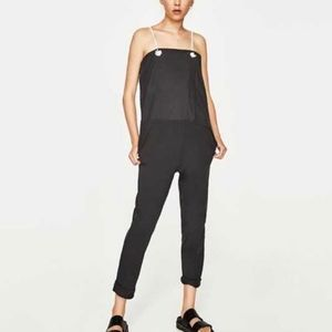 NEW ZARA ROPE STRAP GRAY JUMPSUIT CASUAL SMALL